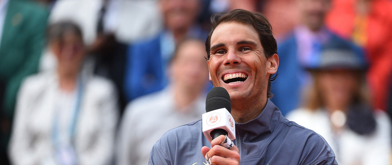Rafael Nadal laughing during his post final speech at Roland-Garros 2019