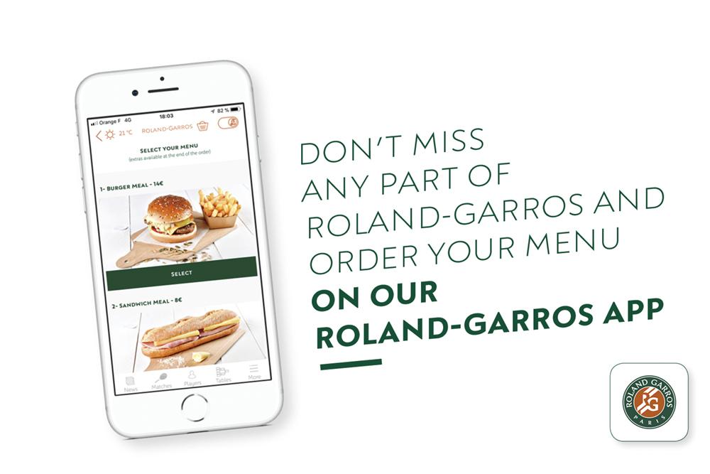 Roland-Garros app menu eat and drink restauration.