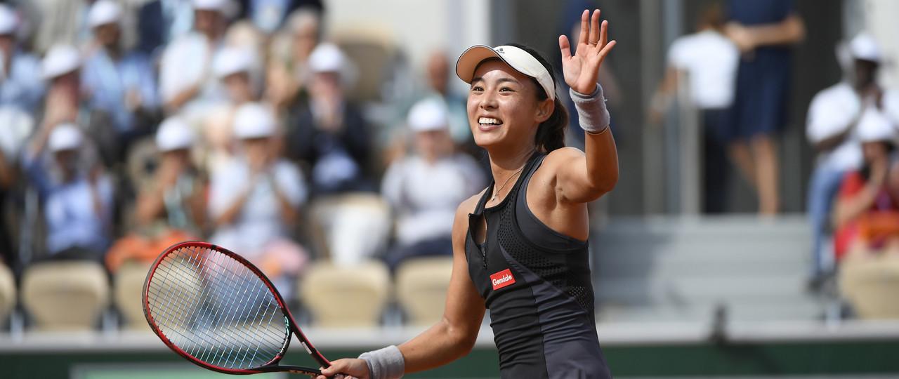 Qiang Wang all smile Roland-Garros 2018