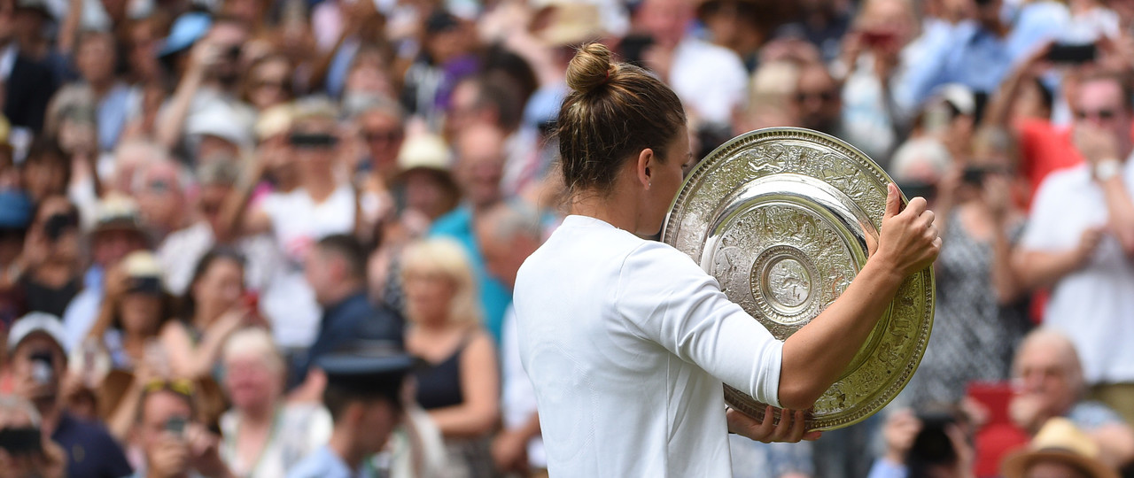 Simona Halep with her trophy from behind at Wimbledon 2019
