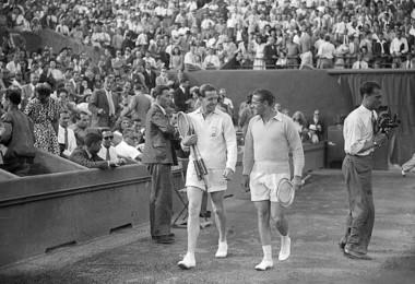 Marcel Bernard et Jaroslav Drobny, finale Roland-Garros 1946 / Marcel Bernard and Jaroslav Drobny, French Open final 1946.