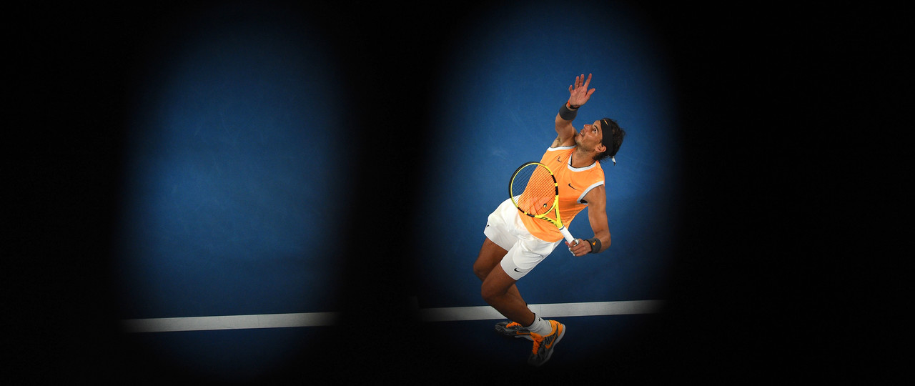 Rafael Nadal serving during the Australian Open 2019