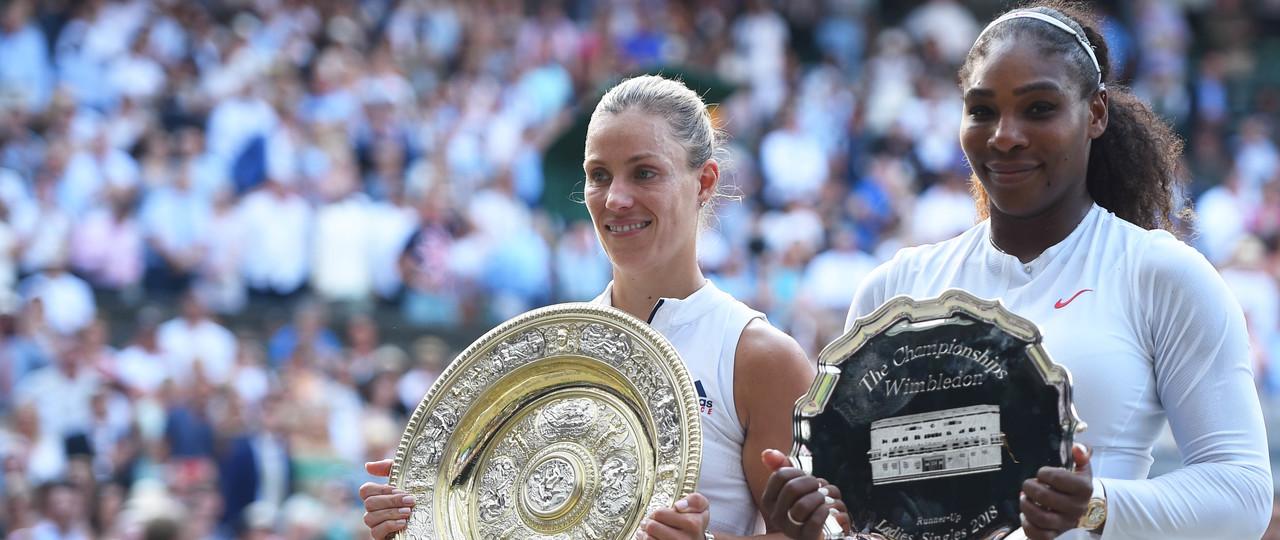 Angelique Kerber Serena Williams trophy ceremony Wimbledon 2018