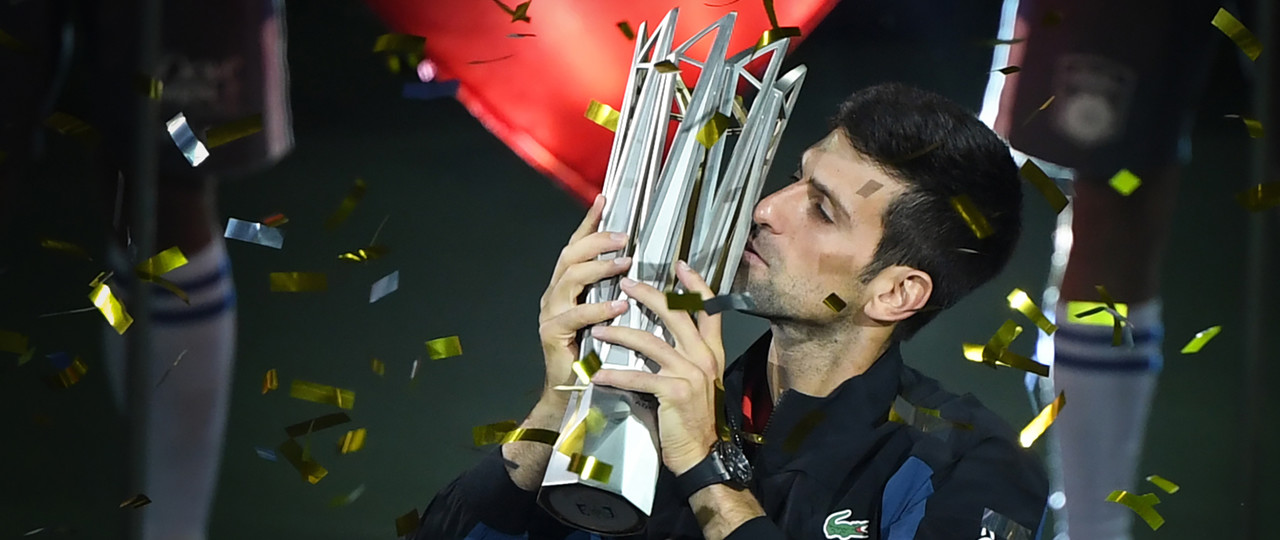 Novak Djokovic lifts the trophy at the 2018 Shanghai Masters 1000