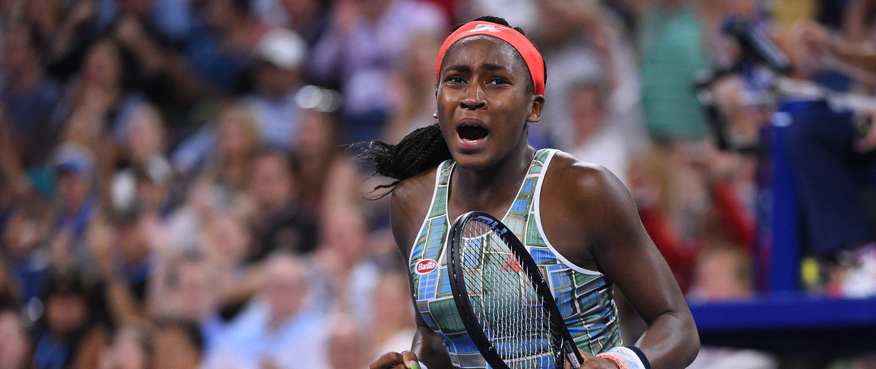 Coco Gauff celebrating during the 2019 US Open