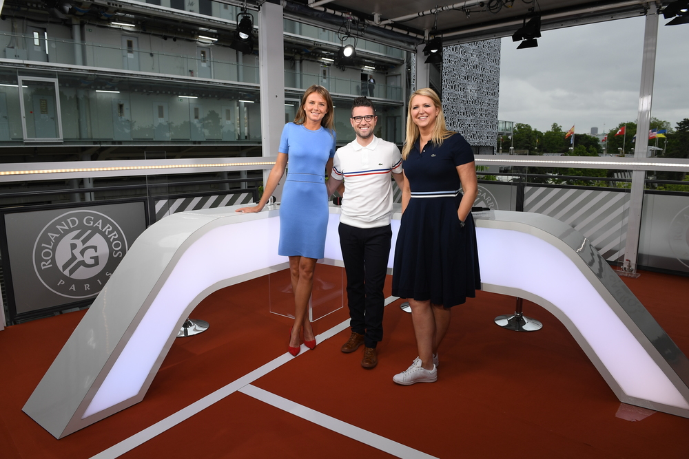 Daniela Hantuchova, Nick McCarvel and Gigi Salmon on the set of the Live at Roland-Garros 20190