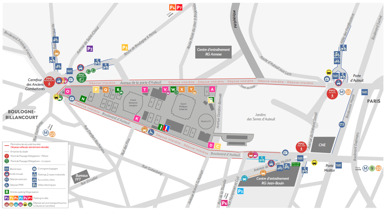 Roland-Garros 2019 - Plan des services autour des PPO