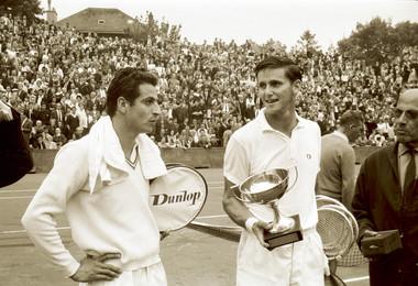 Pierre Darmon et Roy Emerson - Roland-Garros 1963